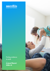 The cover image of the Sax Institute Annual Report 2019. The cover is an image of a woman lifting a young girl into the air while they are both laughing.