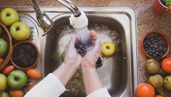 A woman's hands wash some fruit under the stream of water