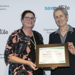 NHMRC CEO Prof Anne Kelso presents Research Action Awards 2018 winner Prof Kate Curtis with her certificate
