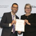 NSW Health Secretary, Ms Elizabeth Koff presents NSW Biostatistics Training Program graduate Joseph Hanna with his certificate