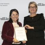NSW Health Secretary, Ms Elizabeth Koff presents NSW Public Health Training Program graduate Wedyan Meshreky with her certificate